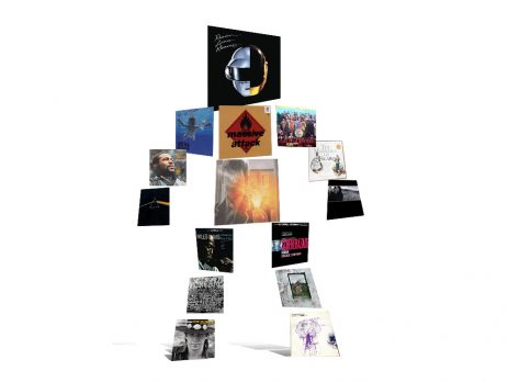 Human shape made of album covers