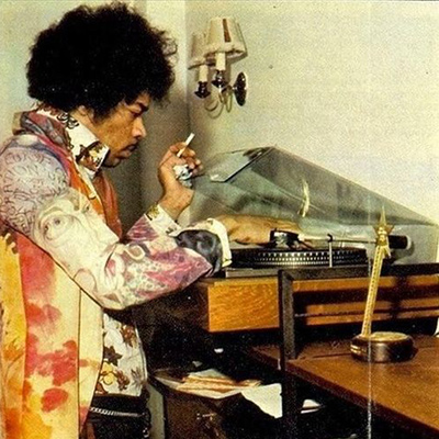 Jimi Hendrix and record player