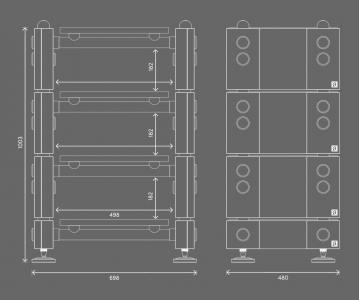 Wilson Benesch R1 Rack dimensions for 4 tier