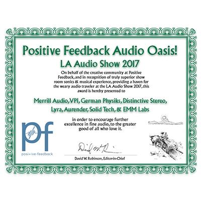 Positive Feedback Audio Oasis! LA Audio Show 2017 Award
