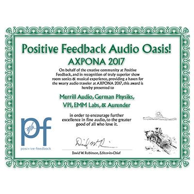 Positive Feedback Audio Oasis! Axpona 2017 Award
