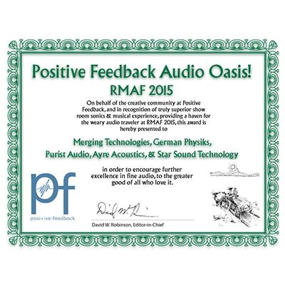 Positive Feedback Audio Oasis! RMAF 2015 Award