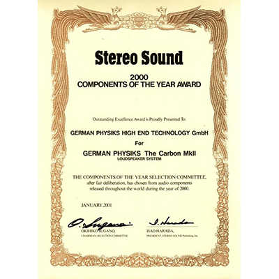 Stereo Sound 2000 Components of the Year Award