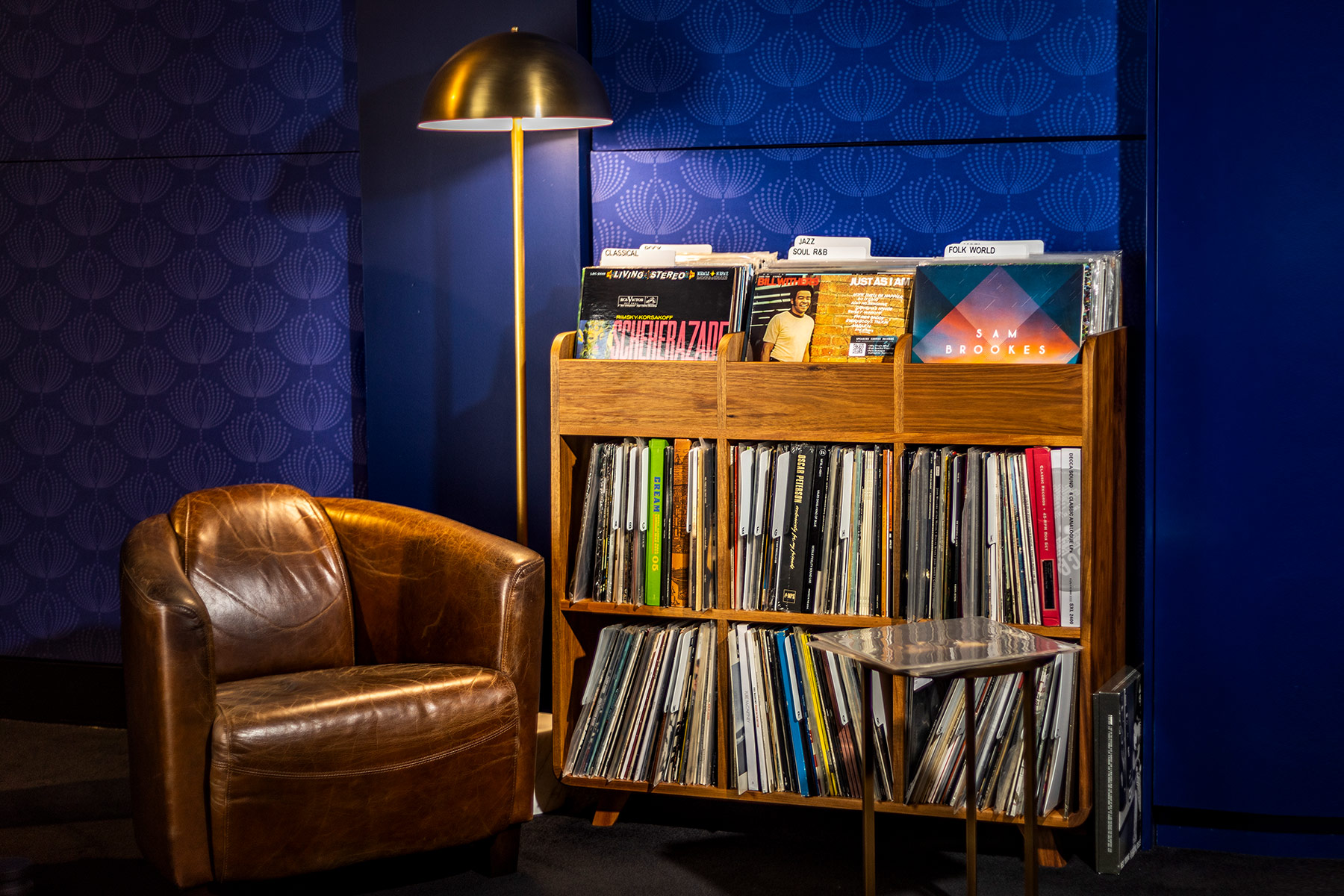 Nirvana Sound showroom - chair and LPs